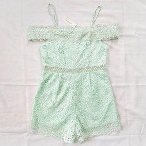 NWT Mint Green Lace Floral Open Shoulder Romper M